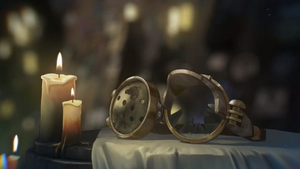 A shattered pair of goggles rest in a candle-lit cavern with some kind of picture-covered shrine in the background.