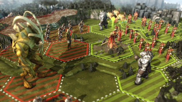 Two fantasy armies drawn up for battle on green fields divided into a hex grid. Giants stand at the forefront.