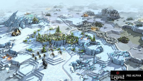 An icy landscape topped by a city of delicate spires on a bluff.