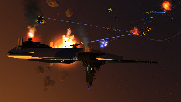 An orange capital ship exchanges streams of bright neon laser fire with adversaries in the darkness of space.