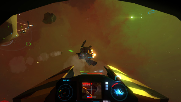 Another cockpit view as the fighter closes in on a mid-sized enemy corvette.