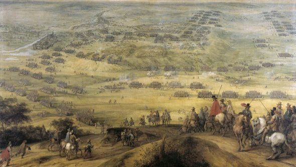 "An old oil painting of a European horse-and-musket battle, with the standard ""group of generals on an improbable hilltop"" vantage point over the battlefield."