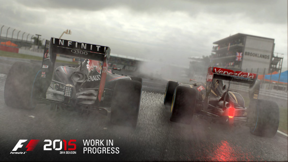 Two F1 cars go side-by-side through the rain.