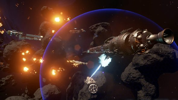 Ships engage in a hail of fire in the darkness of space