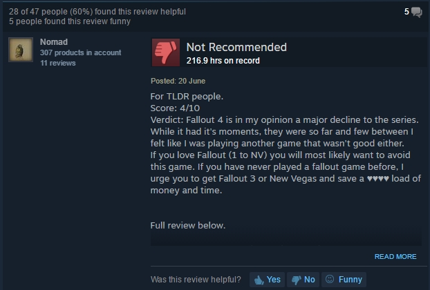 Fallout 4 Steam Review
