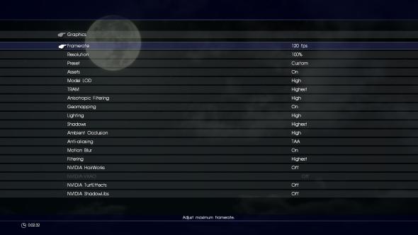 Final Fantasy XV PC graphics menu
