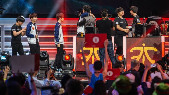 The stage at MSI as the Korean SKT team accepts congratulations from Fnatic.