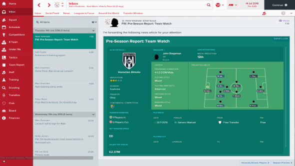 Football Manager 2017 inbox