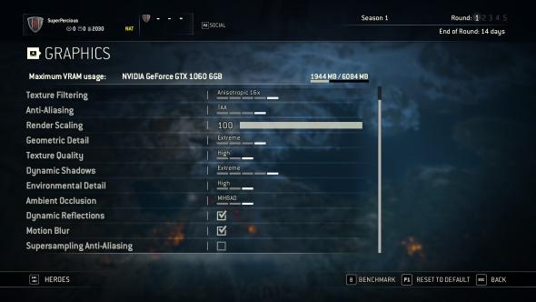For Honor graphics menu