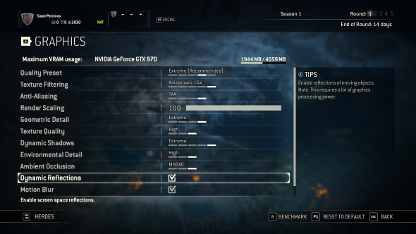 For Honor GTX 970 graphics menu