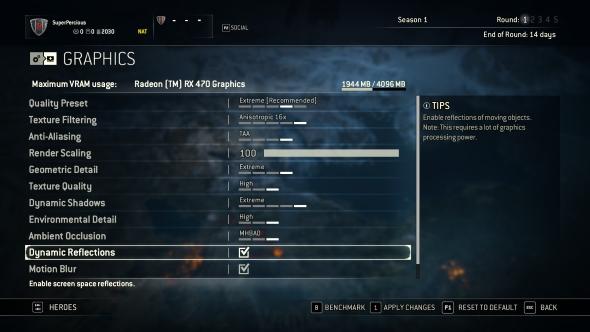 For Honor AMD Radeon RX 480 graphics menu