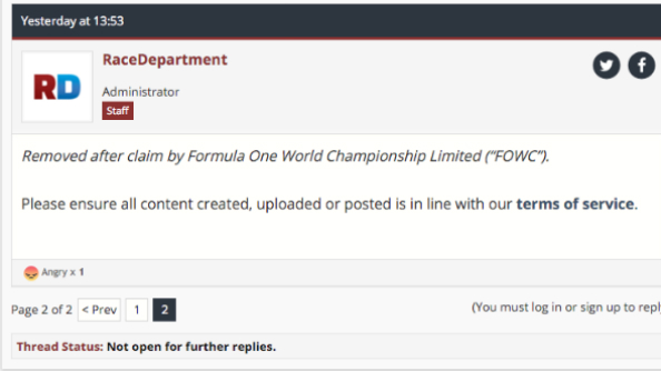 Formula One mods removed