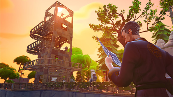 Building the fort of my dreams in epic games fortnite pcgamesn a handsome ninja looks at blueprints while a tower takes shape in the sunset skyline in malvernweather Images