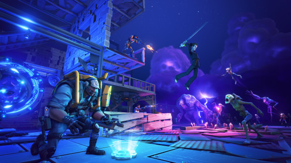In a blue-purple night, an engineer puts down a device in the foreground while combat takes place in the background between the defenders of a fort and waves of monsters.