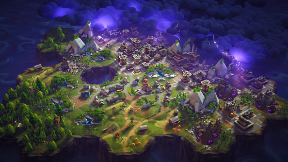 A top down view of a cartoony town menaced on all sides by an inky storm.
