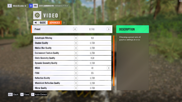 Forza Horizon 3 settings