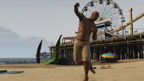 Grand Theft Auto V starts the satire with energy bar ad