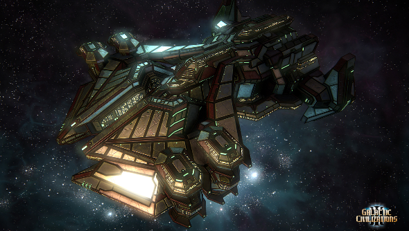 A large, menacing metallic spaceship against a starfield.