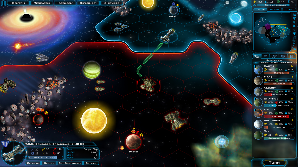 A space strategy map with empire borders floating in space with bold colors.