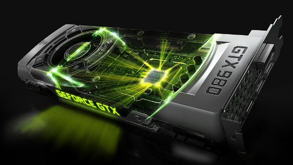 The GeForce 980 with some improbable green lighting effects.