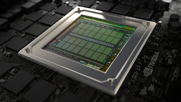 A GeForce Maxwell die on a card of black silicon.