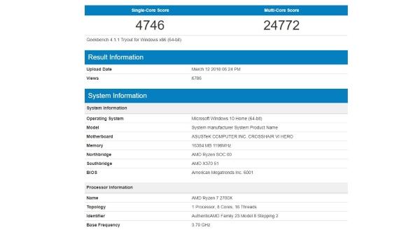 Geekbench Ryzen 7 2700X benchmarks