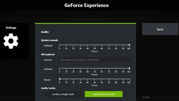 Geforce Experience Beta Audio Settings