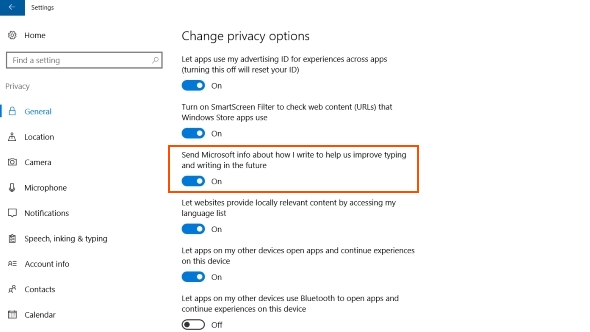 Windows 10 general privacy settings
