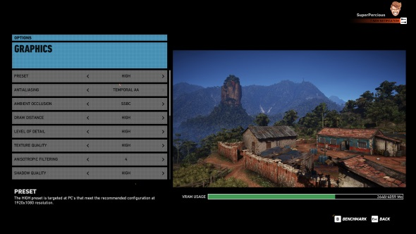 Ghost Recon Wildlands PC graphics menu GTX 970