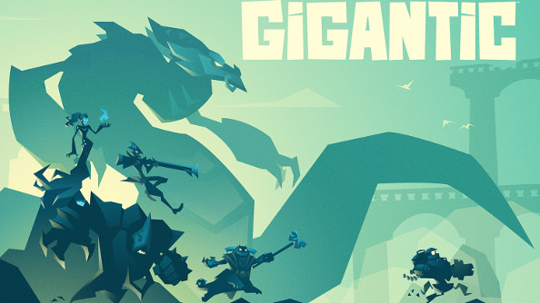 The turquoise poster for Gigantic.
