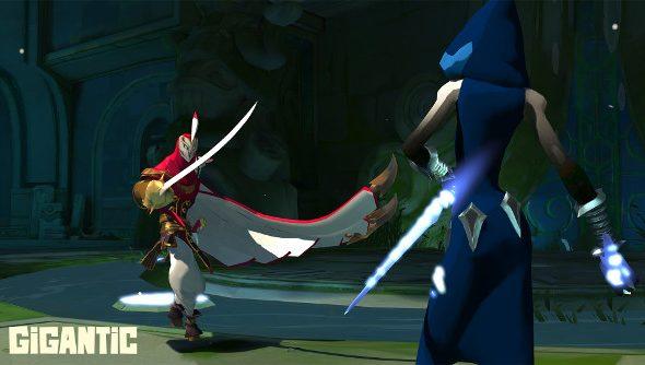 A swordsman squares-off against an assassin in Gigantic.