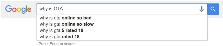 Google Autocomplete GTA