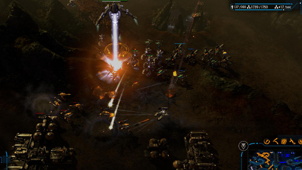 A Human robot leads an onslaught against a wave of enemies.