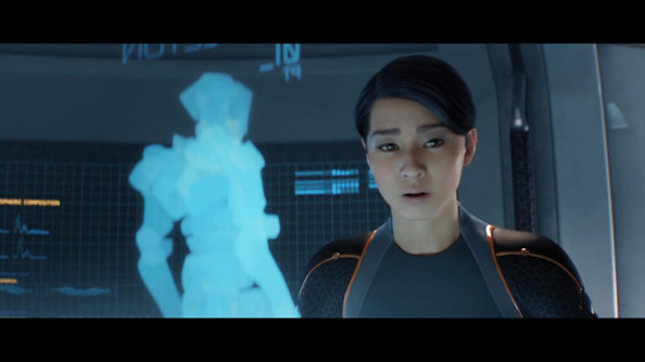 A Human character in a cutscene from Grey Goo aboard a starship.