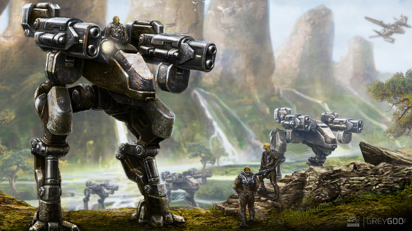 A concept watercolor of the Beta, four-armed aliens, and their giant mechanical robots.