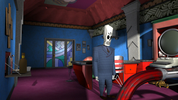 Manny Calavaera, a skeletal figure in an unfashionable suit, peruses an office belonging to someone more successful.