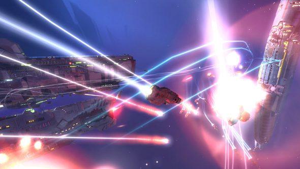 Spaceships doing battle in Homeworld 2 Remastered.