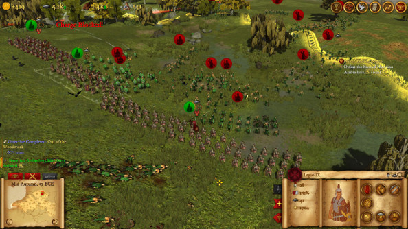 A mob of Gauls try to break a long Roman line.