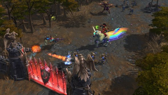 A character attacks a gate in Heroes of the Storm.