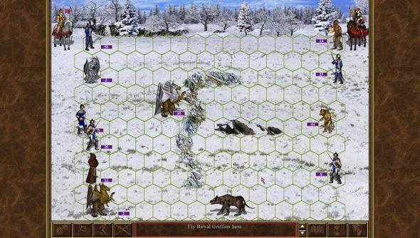 Two fantasy armies do battle on a snowy plain.