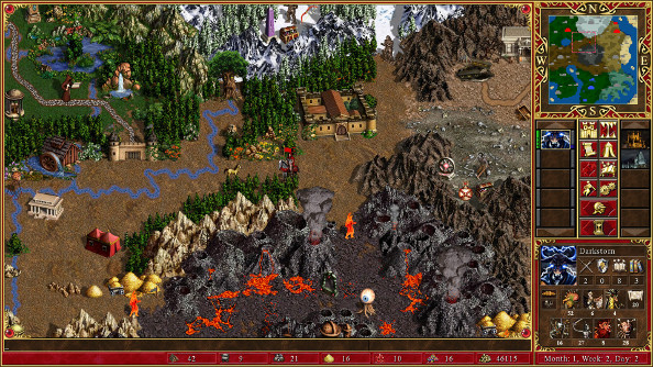 Heroes of Might and Magic 3's HD map, with rocky terrain giving way to plains.