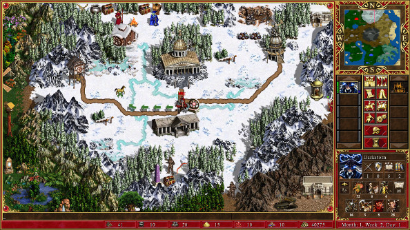A view of the strategy map in Heroes of Might and Magic 3 HD, with small armies on  colorful map.