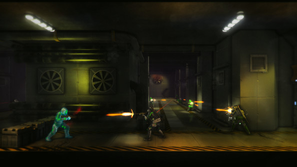 One commando fights while another sends shots down a long hallway at incoming waves of enemies.