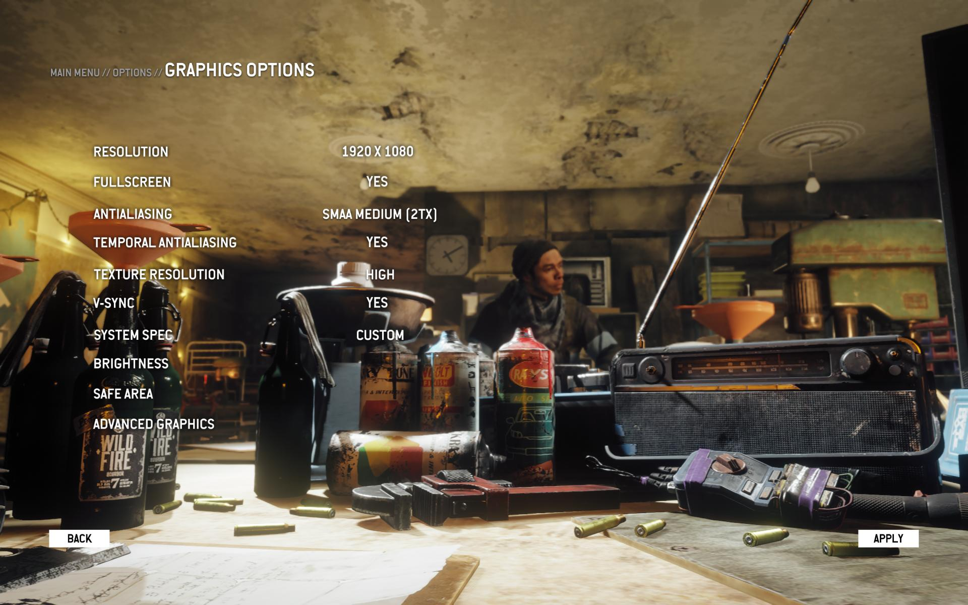 Homefront: The Revolution graphics menu
