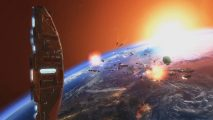 A distant space battle unfolds under the eyes of the Homeworld Mothership in Homeworld 2 Remastered.