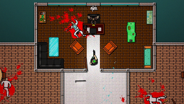 A pixelated office with a dead body lying on the floor with a spray of blood trailing out behind it. Video games.
