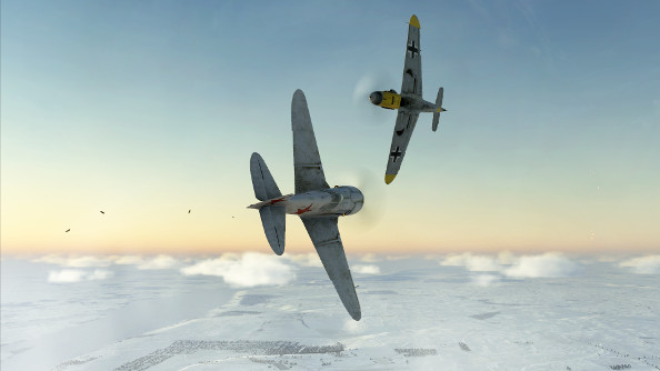 A German and Soviet fighter duel at close quarters on a clear midwinter day.