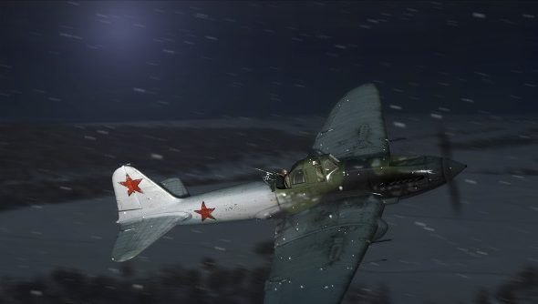 An olive-colored Soviet plane braves the night and the snow.