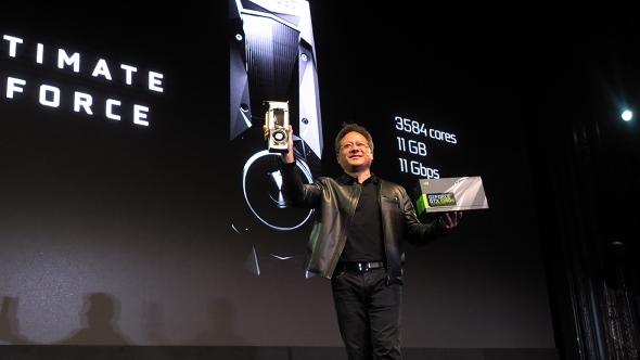 Nvidia CEO Jen-Hsun Huang at GTX 1080 Ti launch
