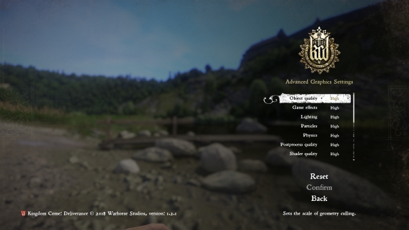 Kingdom Come: Deliverance PC graphics menu